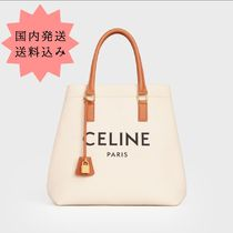 CELINE Cabas Casual Style Canvas Leather Logo Totes