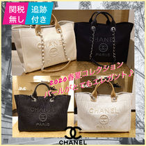 CHANEL DEAUVILLE Casual Style A4 2WAY Chain Elegant Style Totes