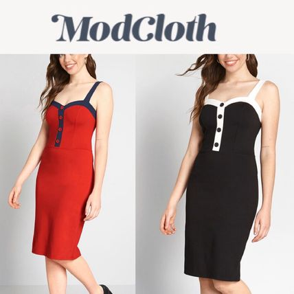 Tight Sleeveless Bi-color Medium Party Style Elegant Style