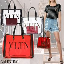 VALENTINO Casual Style Studded Party Style Elegant Style Totes