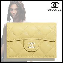 CHANEL Calfskin Plain Leather Folding Wallet Small Wallet Logo