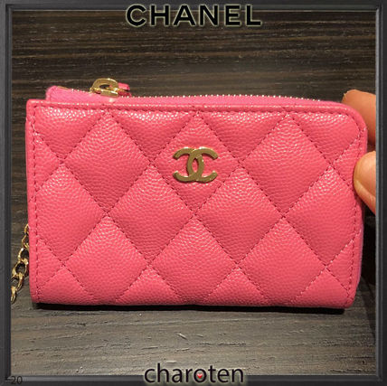 CHANEL TIMELESS CLASSICS Calfskin Chain Plain Leather Long Wallet  Small Wallet