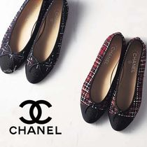 CHANEL Other Plaid Patterns Tweed Logo Ballet Shoes