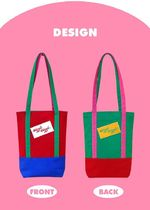 wiggle wiggle Casual Style Canvas Street Style A4 Bi-color Plain Totes
