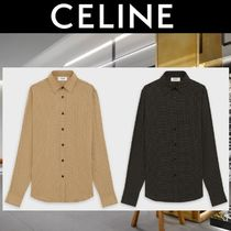 CELINE Dots Unisex Street Style Long Sleeves Bridal Shirts