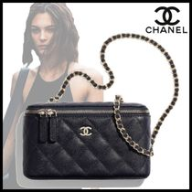 CHANEL Casual Style Calfskin Vanity Bags Chain Plain Leather