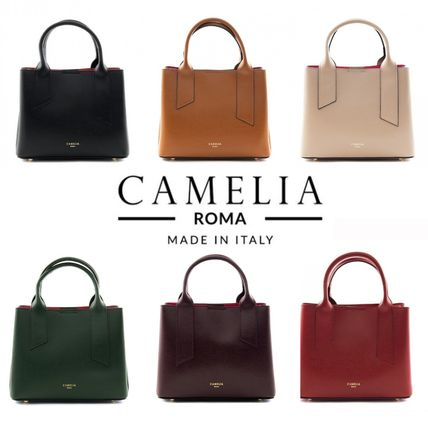 Casual Style 2WAY Plain Leather Office Style Crossbody