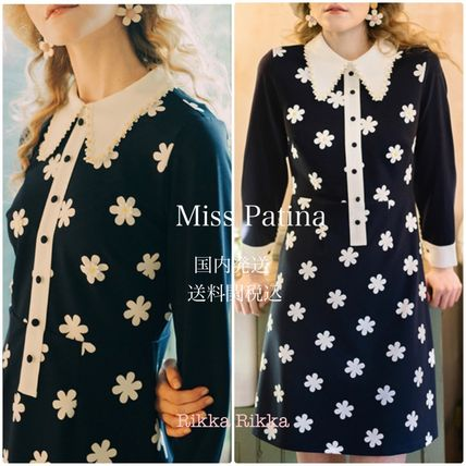 Short Flower Patterns A-line Long Sleeves Elegant Style