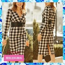 Gepur Wrap Dresses Other Plaid Patterns Casual Style Tight V-Neck