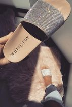 WHITE FOX Open Toe Casual Style Flip Flops With Jewels Elegant Style
