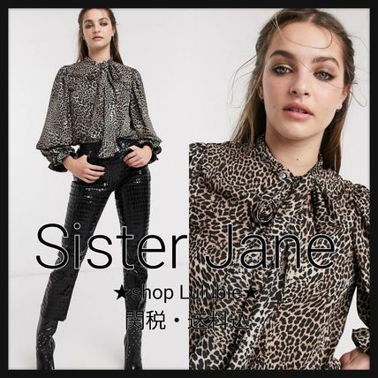 Leopard Patterns Casual Style Elegant Style Puff Sleeves