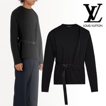Louis Vuitton Crew Neck Long Sleeves Plain Leather Cotton