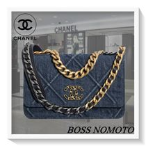 CHANEL CHAIN WALLET Other Plaid Patterns Denim Blended Fabrics Street Style