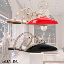 VALENTINO Casual Style Blended Fabrics Studded Plain Leather