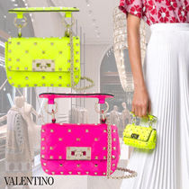 VALENTINO Studded Chain Leather Party Style Elegant Style Neon Color