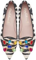 Pretty Ballerinas Zebra Patterns Suede Party Style With Jewels Elegant Style