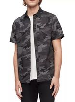 Calvin Klein CK CALVIN KLEIN Button-down Camouflage Unisex Cotton Short Sleeves Logo
