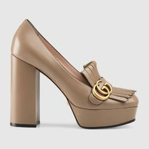 GUCCI Square Toe Platform Casual Style Leather Party Style