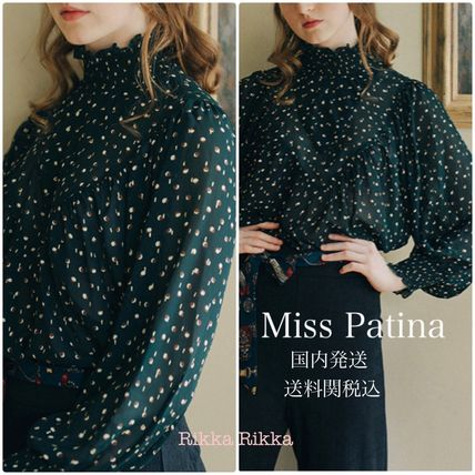 Dots Long Sleeves Elegant Style Shirts & Blouses