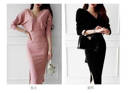 Wrap Dresses Casual Style Tight V-Neck Long Sleeves Plain