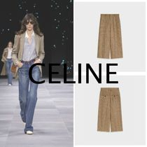 CELINE Glen Patterns Casual Style Wool Linen Office Style