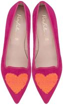 Pretty Ballerinas Heart Suede Plain Pointed Toe Shoes