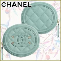 CHANEL Calfskin Leather Long Wallet  Logo Icy Color Coin Cases