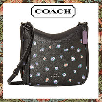 Coach Flower Patterns Casual Style Leather Elegant Style Crossbody