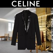 CELINE Short Wool Blended Fabrics Plain Bridal Blazers Jackets