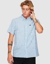 RVCA Stripes Cotton Short Sleeves Logo Shirts
