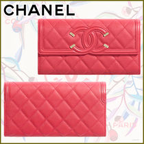 CHANEL Calfskin Leather Logo Icy Color Long Wallets