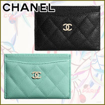 CHANEL Calfskin Leather Logo Icy Color Card Holders