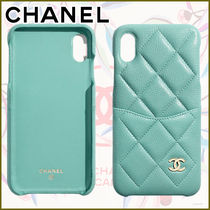 CHANEL Leather iPhone XS Max Logo Icy Color Smart Phone Cases