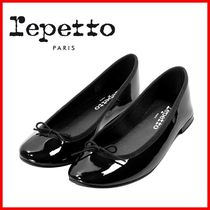 repetto Round Toe Leather Elegant Style Formal Style  Logo Flats