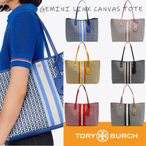 Tory Burch GEMINI LINK Stripes Casual Style A4 2WAY Leather Party Style
