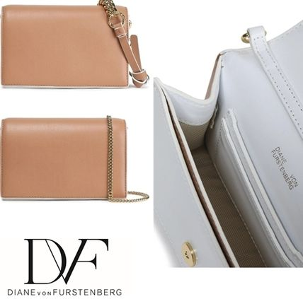 Casual Style Chain Plain Leather Office Style Crossbody