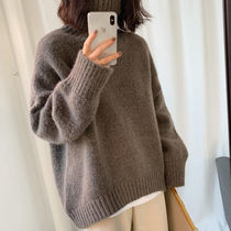 Casual Style Long Sleeves Plain Medium Oversized Turtlenecks