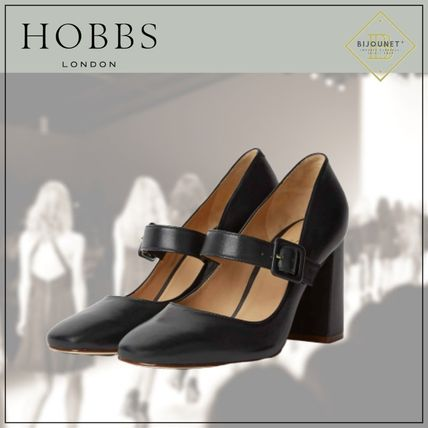 Square Toe Casual Style Plain Leather Block Heels