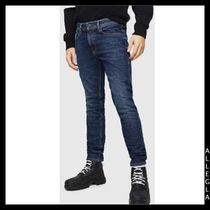 DIESEL Blended Fabrics Leather Cotton Logo Men Skinny Pants
