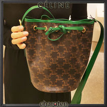 CELINE Triomphe Casual Style Calfskin Canvas Blended Fabrics Leather