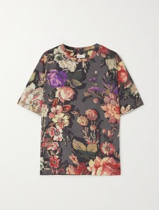 Flower Patterns Street Style Cotton T-Shirts