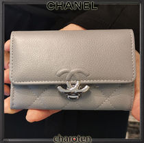 CHANEL ICON Unisex Calfskin Plain Leather Folding Wallet Small Wallet