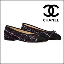 CHANEL Other Plaid Patterns Tweed Blended Fabrics Ballet Shoes