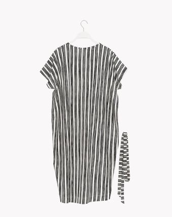 Stripes Casual Style Cotton Medium Short Sleeves Dresses