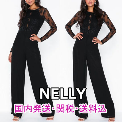 Crew Neck Dungarees Long Sleeves Plain Long Party Style Lace