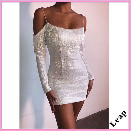 Short Tight Long Sleeves Plain Fringes With Jewels Glitter
