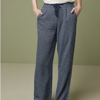 Stripes Casual Style Linen Plain Long Elegant Style Pants