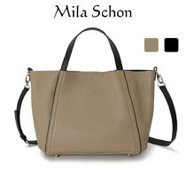 Mila Schon Casual Style Plain Leather Office Style Logo Totes