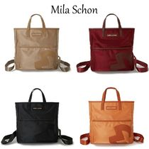 Mila Schon Casual Style Plain Office Style Logo Totes