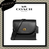 Coach TURNLOCK Casual Style Blended Fabrics Street Style 2WAY Plain Leather
